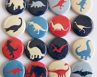 Primary Colored Dinosaur Silhouette 1 Inch Pinback Buttons - Set of Six