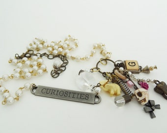 CURIOSITIES - Repurposed Vintage Pearl and Charm Statement Necklace