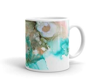 Teal Abstract Art Mug, Modern Gift, Coffee Mug, Ceramic Mug, Modern Art Mug, Tea Mug,  Gifts for Her,  Mothers Day Gift Mug, Aunt Gift