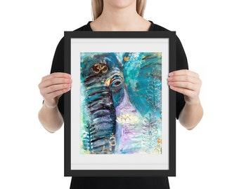 Elephant Mixed Media Framed Poster, Mixed Media Art,  Animal Art, Framed, Home Decor, Gift, Gifts for her