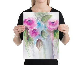 Loose Watercolor Flowers, Watercolor Painting, Art Print , Living Room Art Home Decor
