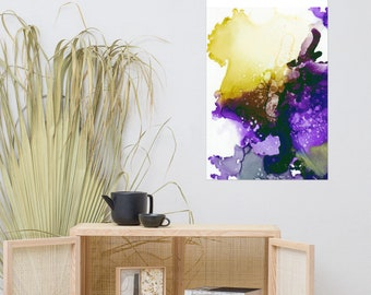 Purple and Green Abstract Art Print Poster, Art Gift, Home Decor , Living Room Decor, Gifts for Her