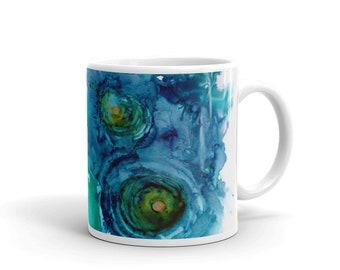 Abstract Blue Modern Mug, Coffee Mug, Art Mug, Cute Mug, Tea Mug, Gift for Teacher, Gift for Mom