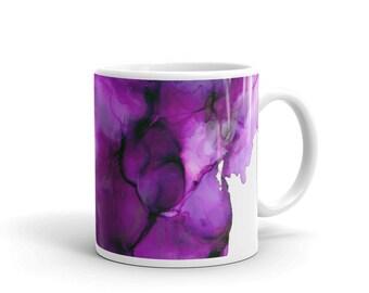 Purple Alcohol Ink mug, Abstract Art, Coffee Mug, Handmade, Drinkware, Cup, Unique Gift, Gift for Mother, Best Friend, Teacher, Nurse, Art