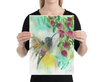 Hummingbird Watercolor Painting,  Art Print, Home Decor, Art Gift
