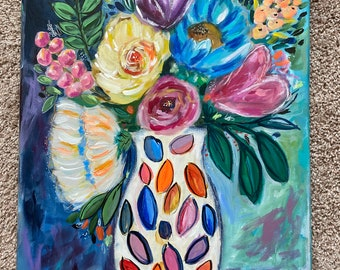 Floral Original Acrylic Painting , Canvas Painting,  Original Art,Living Room Decor, Flower Vase Painting, Birthday Gift, Art Gifts