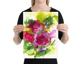 Abstract Flowers Art Print Poster, Poppies, Alcohol ink, Home Decor, Living Room , Gift