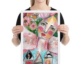 Framed Poster Art Print Mixed Media Girl, Art Journal Art, Acrylic Painting, Gift for teens, Gift for Her