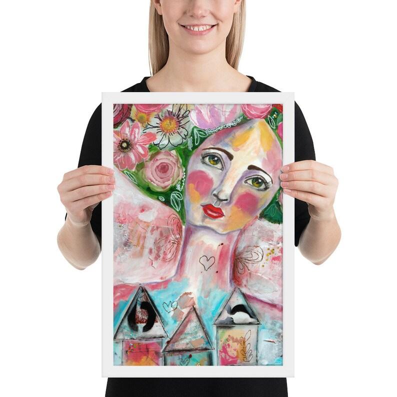 Framed Poster Art Print Mixed Media Girl Art Journal Art image 0