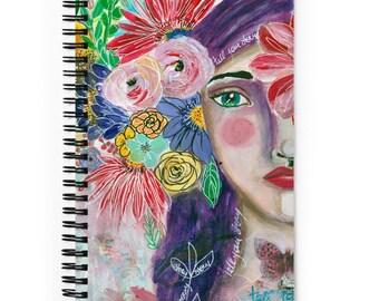 Spiral notebook mixed media art , Whimsical Girl, Sketchbook, Art Notebook, Art Journal, Art gift, Unique Gift, Teacher and Friends Gift