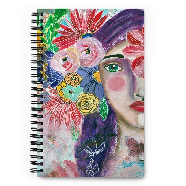 Spiral notebook mixed media art  Whimsical Girl Sketchbook image 0