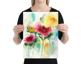 Watercolor Flower Painting, Art Print, Living Room Decor, Art Gift
