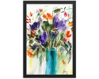 Framed poster Watercolor Flower, Loose Watercolor, Flower Bouquet, Art Gift , Home Decor