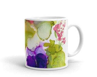 Alcohol Ink Mug, Abstract Art Mug, Coffee Mug, Tea Mug, Gift for Teacher, Ceramic Mug,Gifts for Her, Birthday Gift