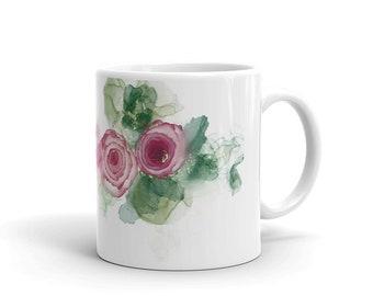 Abstract Flowers Mug, Art Mug, Coffee Mug, Tea Mug, Cut Mug, Mug for Mom, Gift from Daughter,  Gift for Best Friend, Unique Gifts