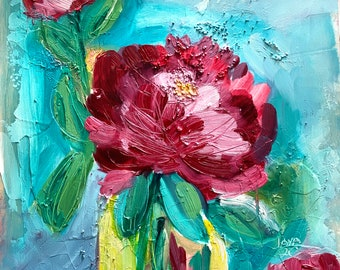 Peony Oil Painting, Hand Oil Painting, Oil Painting Flowers,  Original Art, Friend Birthday Gift