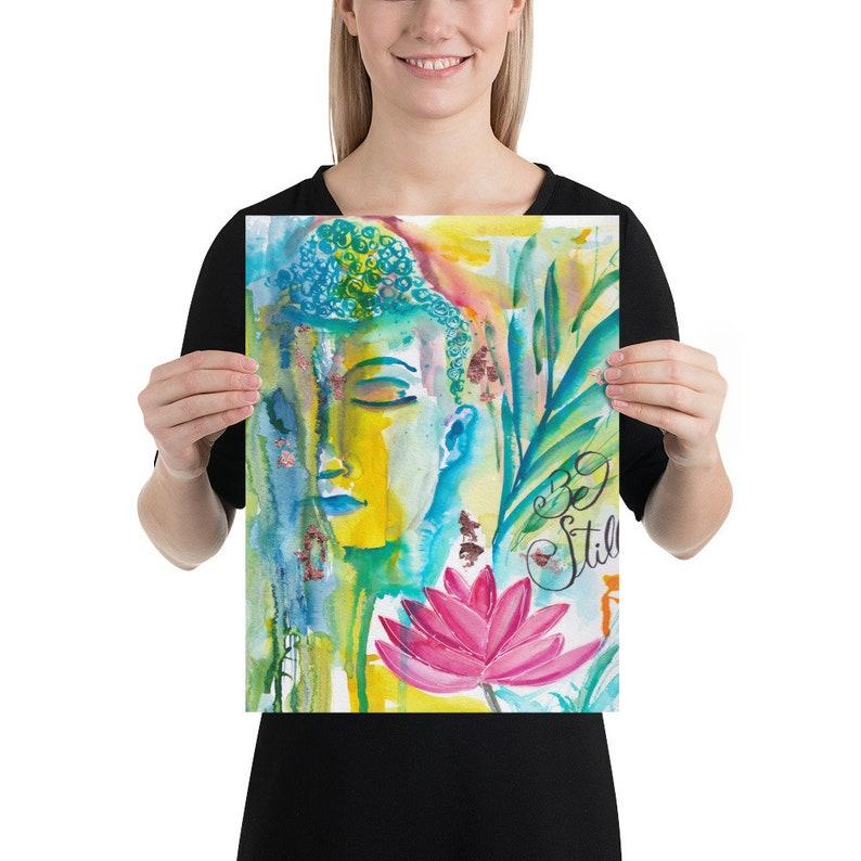 Buddha Watercolor Painting  Art print Home Decor Living image 0
