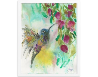 Free Hummingbird Watercolor Painting, Framed Art Print, Home Decor, Art Gift, Unique Gift