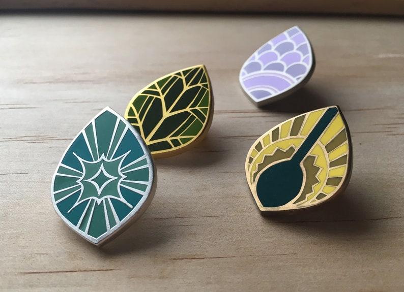 Set of 4 Sylvania Witch Clan Symbol Enamel Pins