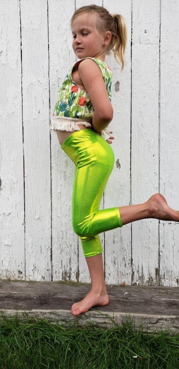 Shiny Metallic Capri Leggings For Girls Size 2t 10 Baby Girls Etsy