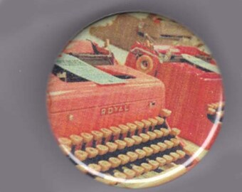 Colorful typewriters button or magnet