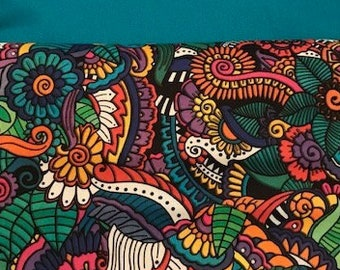 24 CHAIR POCKETS Durable Cotton  Bright abstract print with turquoise backers  Free Shipping