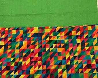 24 CHAIR POCKETS Durable Cotton  Bright geometric print with lime green backers  Free Shipping