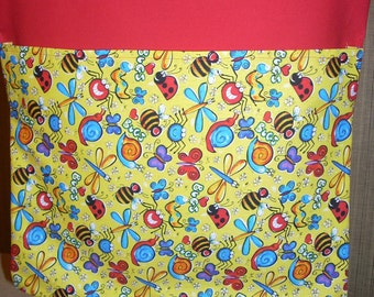 24 CHAIR POCKETS Durable Cotton  Happy Bug  print with multi colored  backers your choice Free Shipping