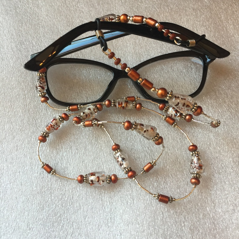 White With Copper Speckles Foil Glass With Copper and Silver Beads on Silver Eye Glasses Holder