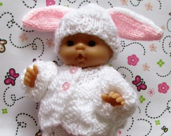 """knitted dolls clothes Rabbit Set - for a 5"""" Chubby Berenguer Baby - Made to Order"""
