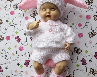 Cute Bunny Rabbit Set - Knitted Dolls Clothes  6.5 inch Reborn Doll or Rosebud Thumbsucker  Made to Order