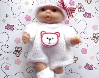 Knitted Romper set for a 5 inch Berenguer Baby Doll - Red and White