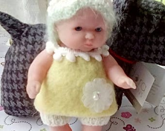 knitted Dolls Clothes 5 inch Chubby Berenguer, Summer Dress, pixie hood, shorts