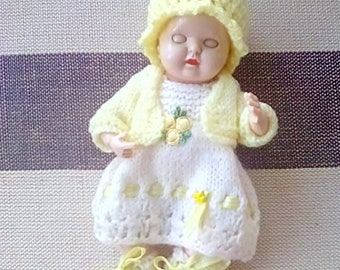Knitted Dolls Clothes 6.5 inch Rosebud Thumbsucker, Yellow and off-white Dress Set