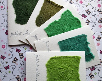 Set of 5 Embossed Dove Just a Note Notecards Notelets Stationery - Green set