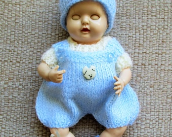 Puppy button dungaree romper set - Knitted Dolls Clothes  6.5 inch Reborn Doll or Rosebud Thumbsucker