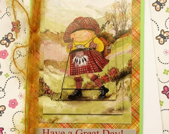 Scottish Birthday or Greetings Card - Have a Great Day - Tartan, scottish hiker, walker.
