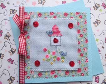 Luxury Greetings Card - Hand Stitched Sewn pretty bird house with birds - love birds, romantic card, vintage feel card, cottage chic