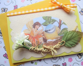 Bird Nest Greetings Card, Flower Fairy, paper pricked birthday card, new baby card - all occasion bird in nest