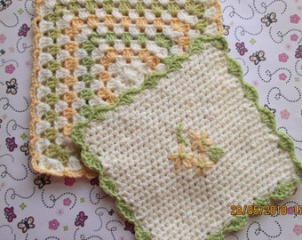 Crochet Tiny Doll Blankets, set of 2, Spring flower colours,  muted yellow, green, cream