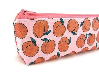 Glitter Peach Pencil Case - Pencil Pouch - Zip Pouch - Small Bag - Zipper Pouch - Planner Pencil Case Organiser, Kids Fun Case Gift Idea