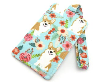 Corgi Dog Fabric Travel Luggage Tag - Bag Tag - Travel Accessories - Gift for Traveler - Fun Gift