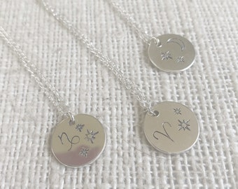 Star Sign Personalized Pendant // Choose your Astrology Sign // sterling silver // handmade to order in Byron Bay