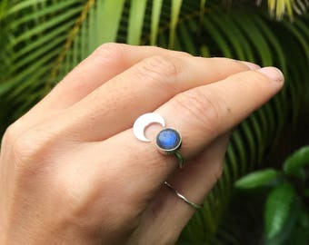 Luna & Labradorite silver cuff ring  // handmade to order // choose your size // recycled sterling silver