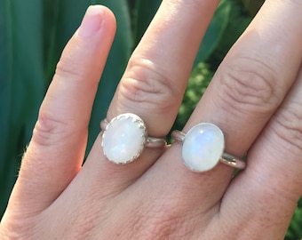 Moonstone faceted ring  // handmade to order // choose your size // recycled sterling silver
