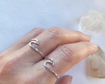 Silver Wave ring  // handmade to order // choose your size // recycled sterling silver