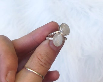 Moonstone oval ring  // handmade to order // choose your size // recycled sterling silver