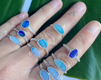 Australian Opal Ring - Mini  // sterling silver // Choose your size + style