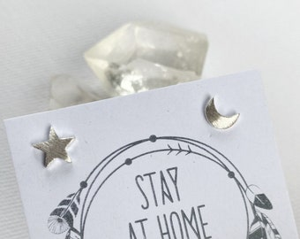 Cosmos Studs - Star + Moon // sterling silver // made in byron bay