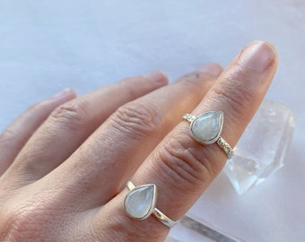 Moonstone ring  // handmade to order // choose your size // recycled sterling silver